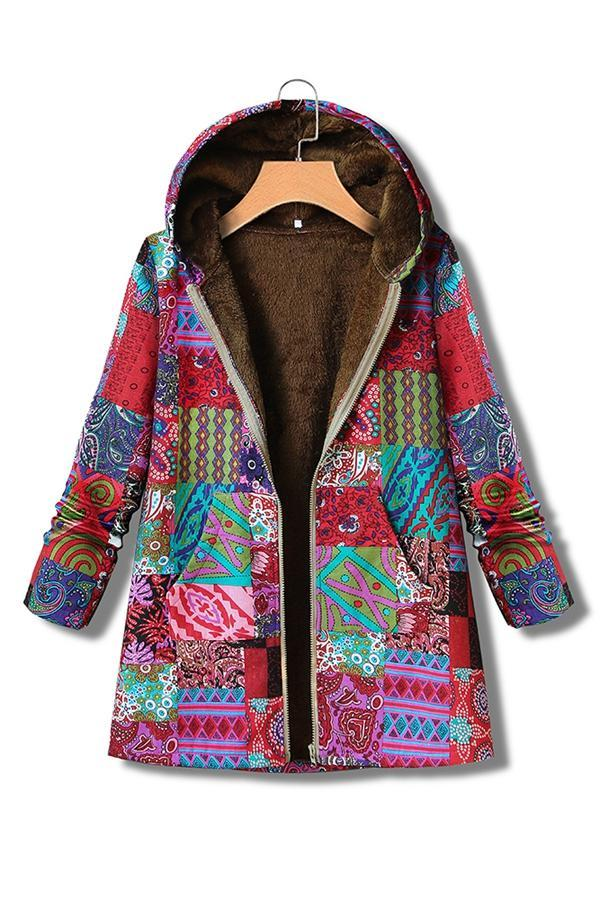 Printed Zip-up Faux Fur Hoodie Coat