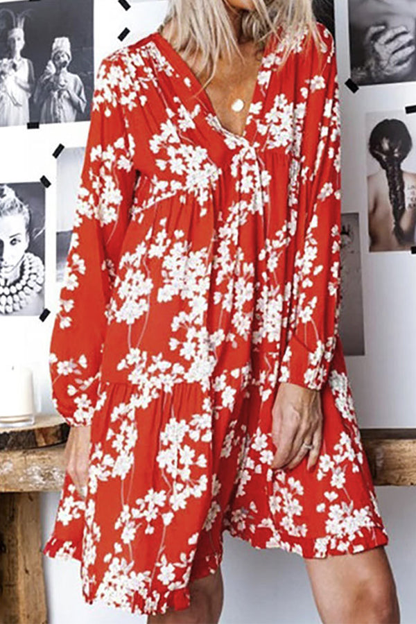 Long Sleeves Floral Midi Dress