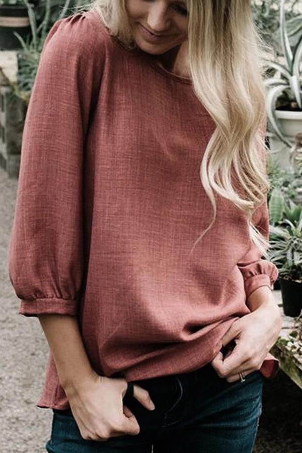 Casual Solid Puff Sleeves Crew Neck Blouse