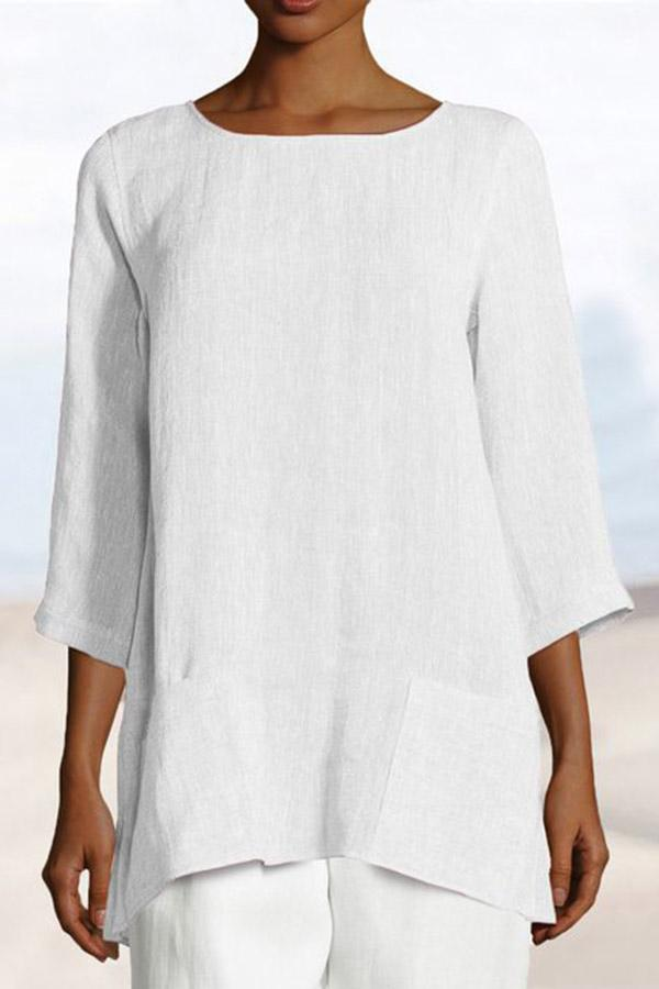 Linen Pockets 3/4 Length Sleeves Solid Casual Blouse