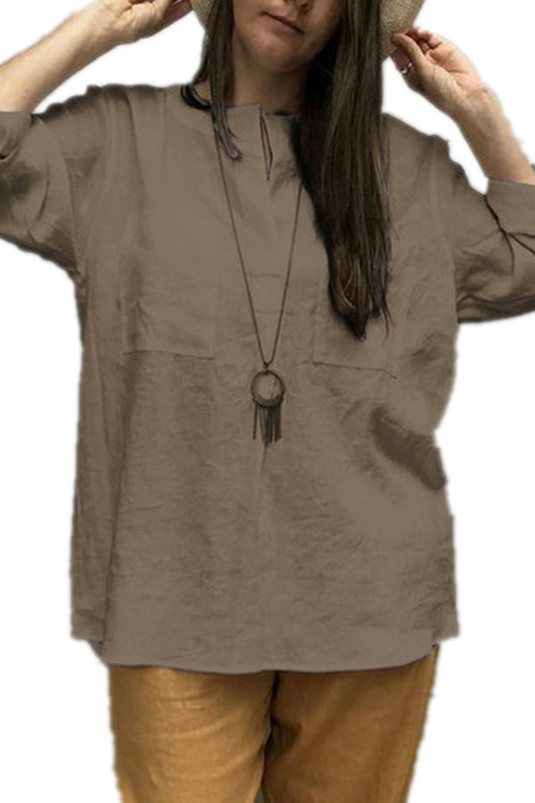 Casual Solid Linen Pockets Blouse