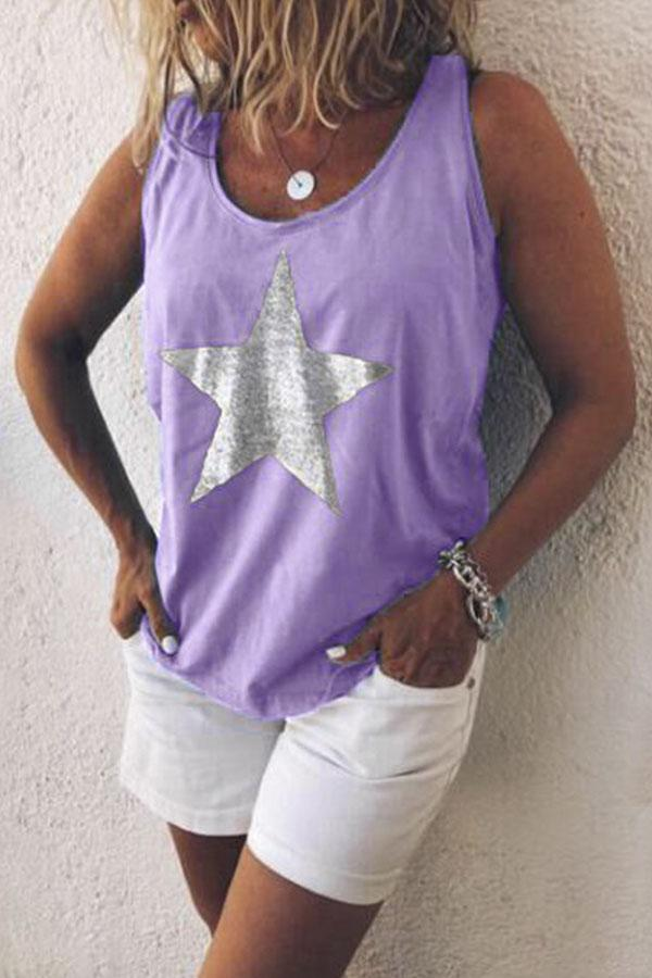Star Print Scoop Neck Casual Tank Top