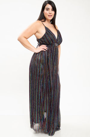 Sheer Multi-color Maxi Dress +, Dress - Lavish Realm
