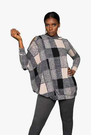 Checkered Tunic Dress, Sweater - Lavish Realm