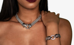 Chunky Statement Necklace, Silver, Necklace - Lavish Realm