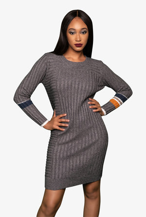 Knit Midi Gray Dress, Dress - Lavish Realm