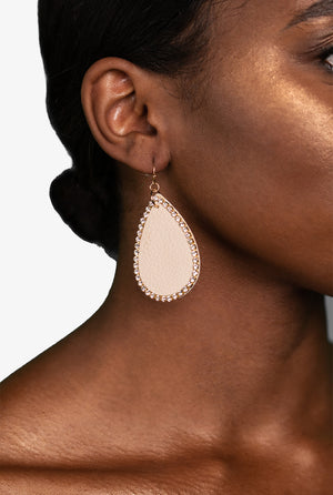 Leather & Rhinestone Teardrop Earrings, Earrings - Lavish Realm