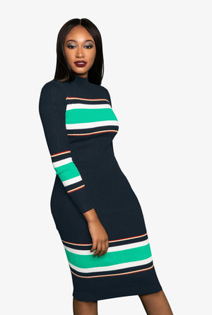 Preppy Ribbed Sweater Dress, Dress - Lavish Realm