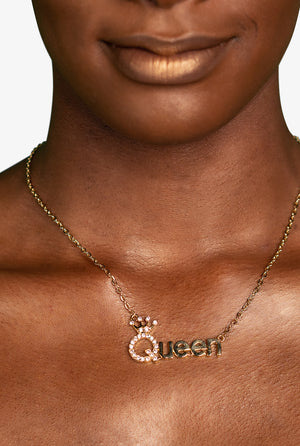 "Rhinestone ""Queen"" Necklace, Gold, Necklace - Lavish Realm"