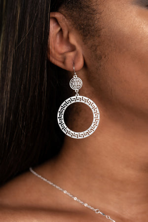 Tribal Double Circle Earrings, Silver, Earrings - Lavish Realm