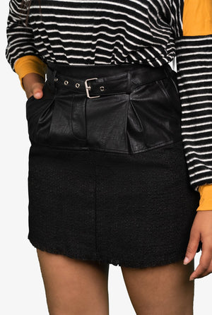 Tweed and Leather Belted Skirt, Skirt - Lavish Realm