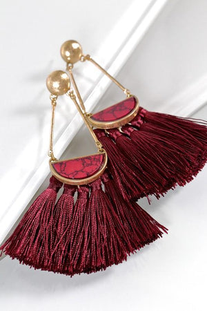 Vintage Tassel Statement Earrings, Burgundy, Earrings - Lavish Realm