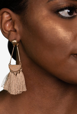 Vintage Tassel Statement Earrings, Taupe, Earrings - Lavish Realm