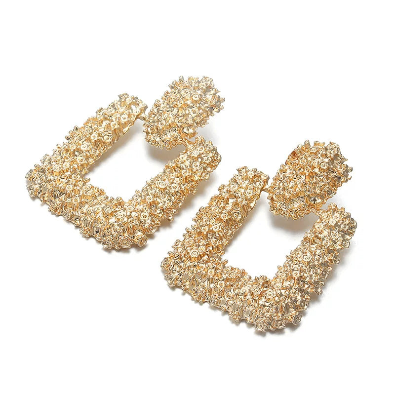 Raised Textured Design Statement Earrings, Gold, Earrings - Lavish Realm