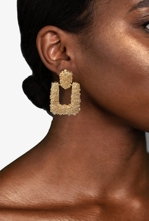 Gold Raised Textured Door Knocker Statement Earrings, Earrings - Lavish Realm