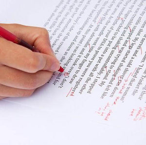 Grouty's Guide hand holding red pen and marking a piece of typed GCSE English work on plain white A4 paper