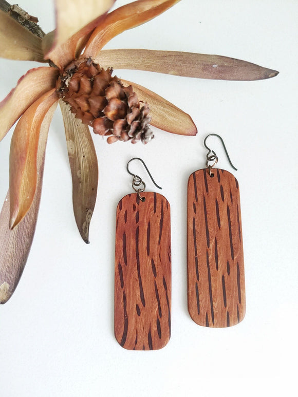 Max & Mel Rectangle Dangles in Flame Sheoak