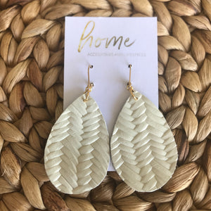 Braided Embossed Leather Teardrop Earring