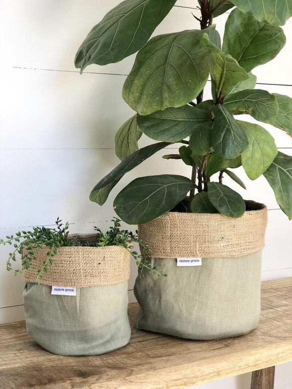 Pot Plant Covers (Olive linen and hessian reversible)