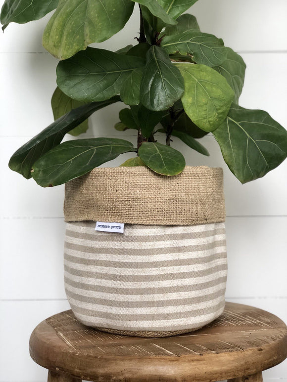 Pot Plant Covers (Taupe Scout Stripe reversible)