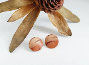 Max & Mel Button Studs in Flame Sheoak