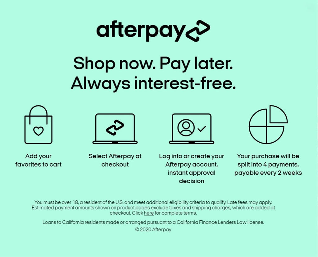 AFTERPAY INTEREST FREE PAYMENT PLAN