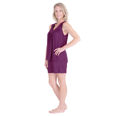 WOMEN'S GATHERED TANK SHORT PJ SET - Cool-jams