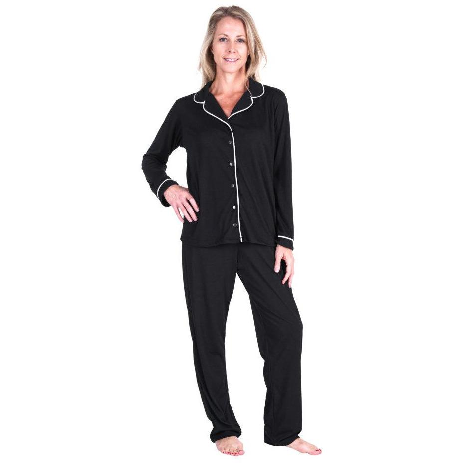 WOMEN'S MOISTURE WICKING BUTTON FRONT PAJAMA SET - Cool-jams