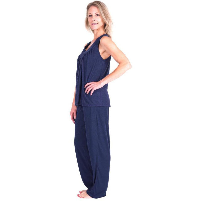 WOMEN'S MOISTURE WICKING GATHERED TANK PJ SET - Cool-jams