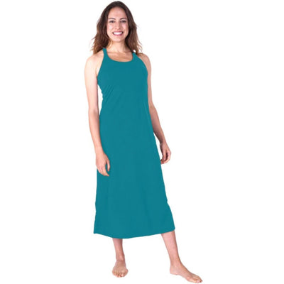 WOMEN'S MOISTURE WICKING LONG RACERBACK TANK GOWN WITH SHELF BRA - Cool-jams