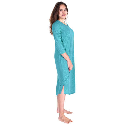 WOMEN'S MOISTURE WICKING LONG SCOOP NECK NIGHTGOWN WITH 3/4 SLEEVES - Cool-jams