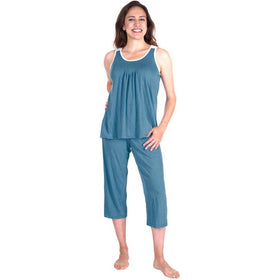 WOMEN'S MOISTURE WICKING PLEATED TANK CAPRI SET - Cool-jams