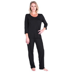 WOMEN'S MOISTURE WICKING SCOOP NECK PAJAMA SET -3/4 SLEEVES - Cool-jams