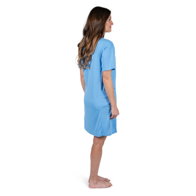 WOMEN'S MOISTURE WICKING SHORT PANEL NIGHTSHIRT WITH POCKETS - Cool-jams