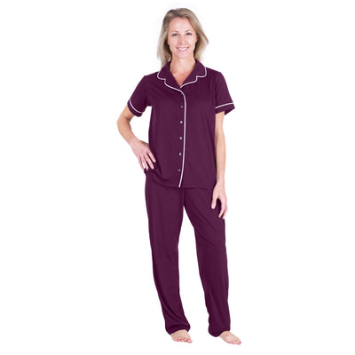 WOMEN'S MOISTURE WICKING SHORT SLEEVE BUTTON FRONT PJ SET - Cool-jams