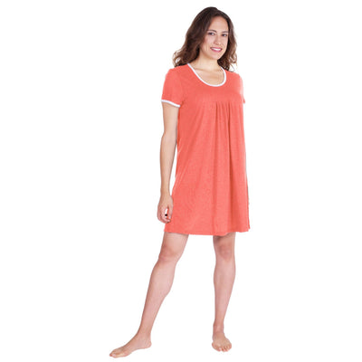 WOMEN'S PLEATED FRONT MOISTURE WICKING SHORT SLEEVE NIGHTIE - Cool-jams