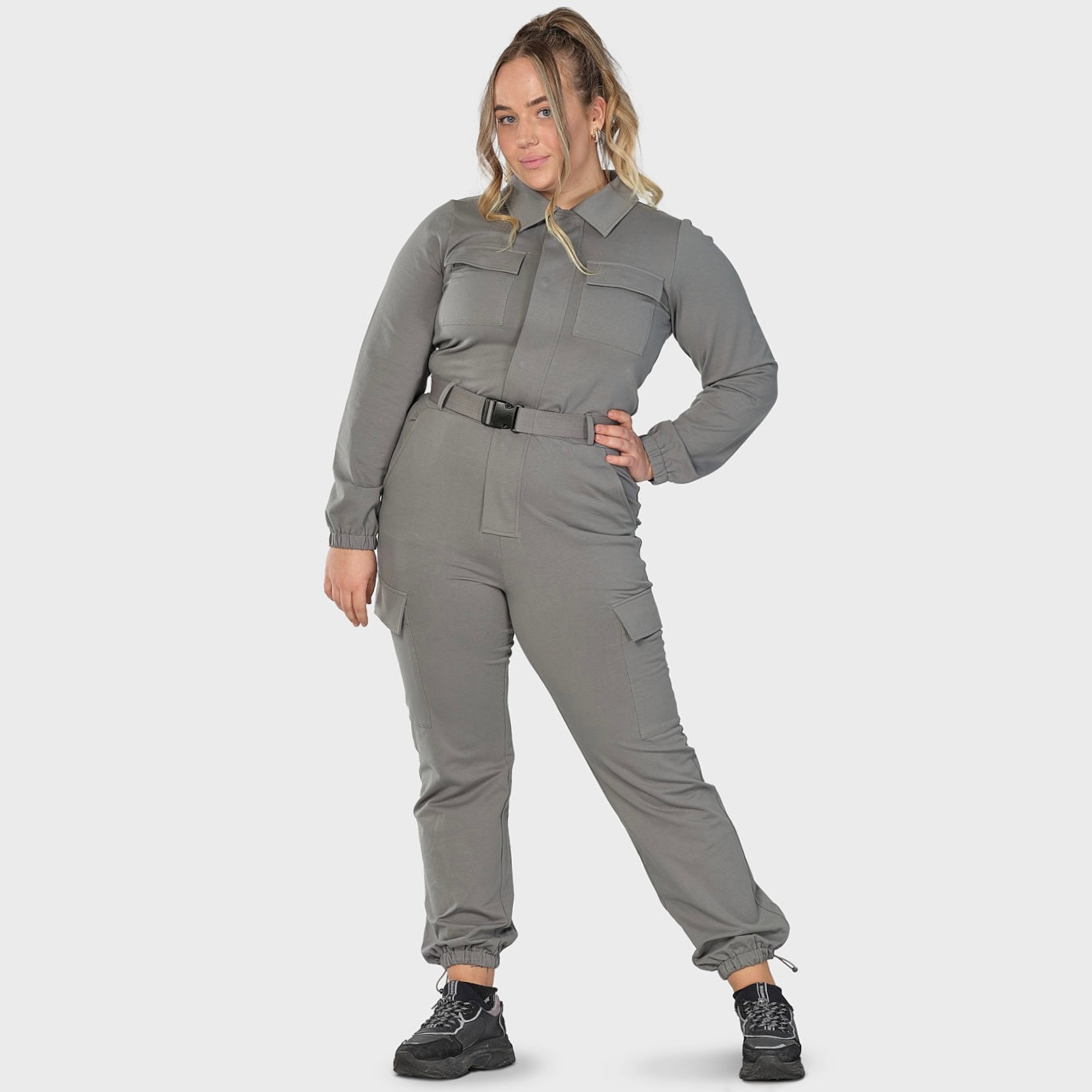 Soft jumpsuit (m/belte) - gray