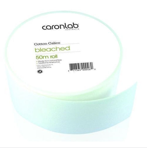 Caronlab Cotton Calico Waxing Roll Bleached 50m