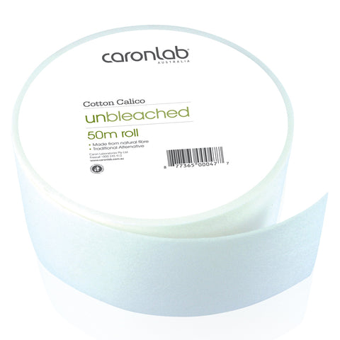 Caronlab Cotton Calico Waxing Roll Unbleached 50m