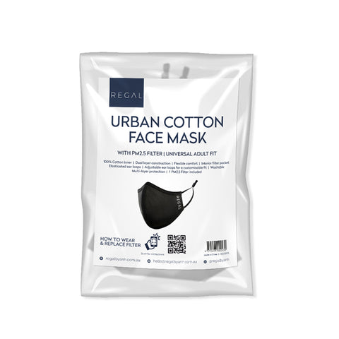 Reusable Washable Urban Cotton Face Mask with PM2.5 Filter - Adult Universal Fit