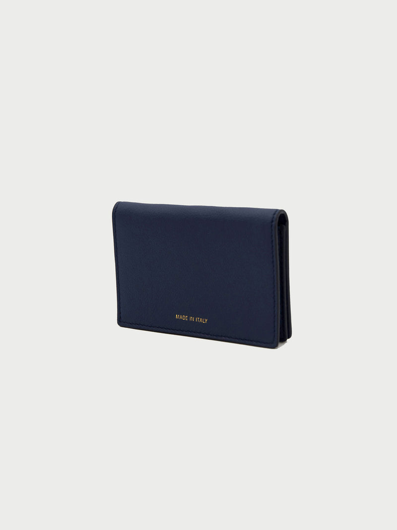 Card Case Navy Back [Equestrian Fashion, Purse, Natural Leather Goods, Navy Blue Card Case]