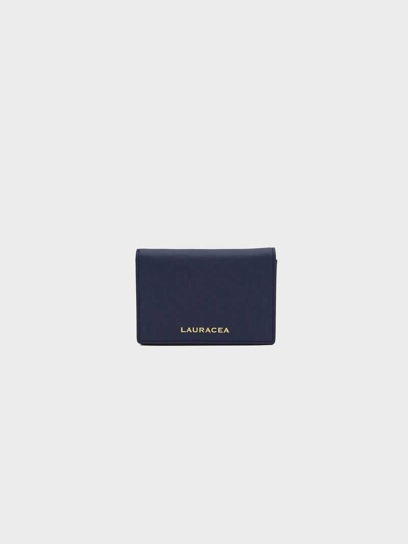 Card Case Navy Front [Card Case, Small Leather Good, Small Wallet, Designer Fashion Accessory]