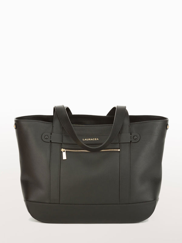 Classic Tote Black [Carry-on, Equestrian, Black Leather, Premium Quality]