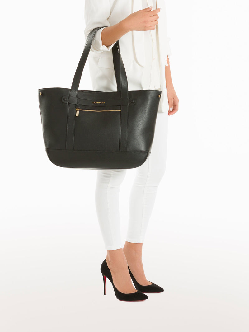 Classic Tote Black [Travel Bag, Italian Fashion, Over the Shoulder, Horse Show Circuit]