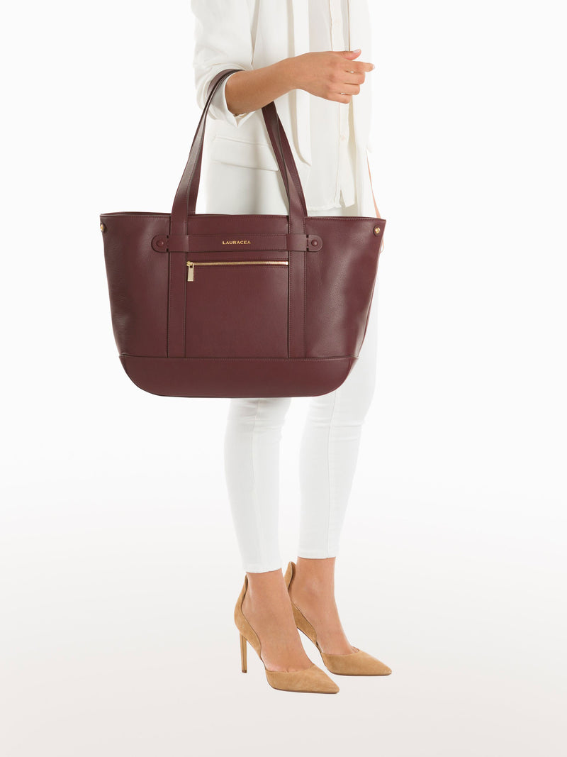 Classic Tote Merlot [Travel Bag, Italian Fashion, Over the Shoulder, Horse Show Circuit]