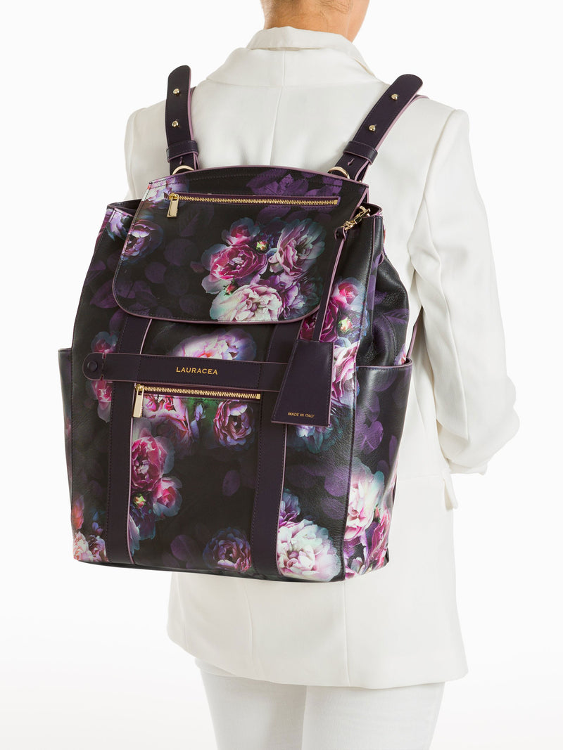 Convertible Backpack Tote Black Peony [Printed Leather, Comfortable Bag]