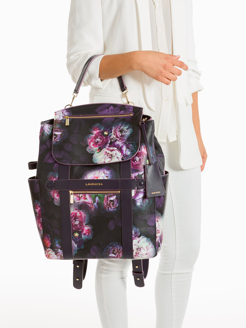 Convertible Backpack Tote Black Peony [Convertible Bag, Leather Convertible Backpack]