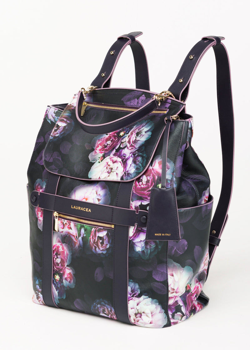 Convertible Backpack Tote Black Peony [Leather Tote, Black Leather Backpack]