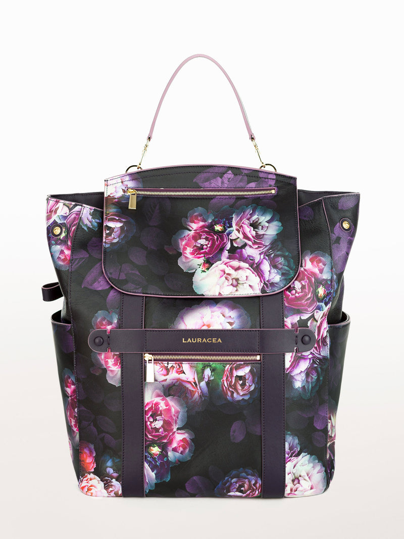 Convertible Backpack Tote Black Peony [Black Backpack, Black Leather Tote]