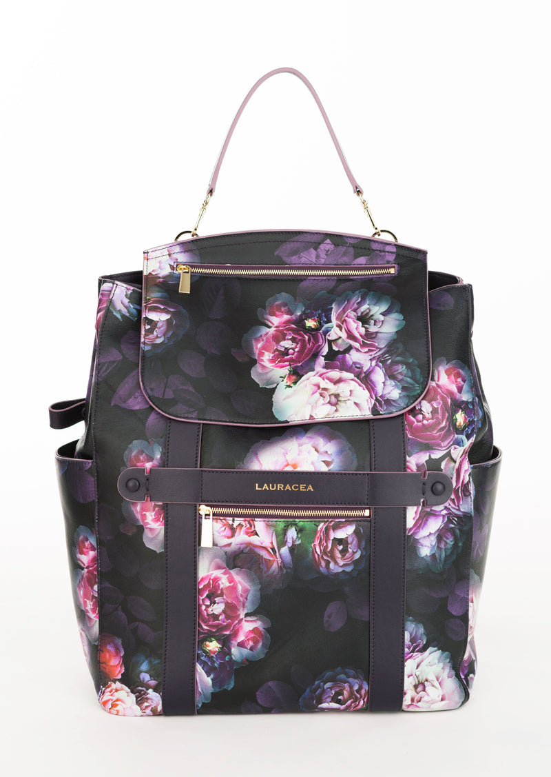 Convertible Backpack Tote Black Peony [Backpack, Tote, Leather Backpack]